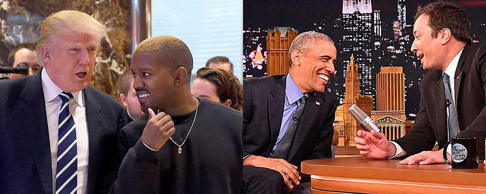 Donald Trump och Kanye West. Barack Obama och Jimmy Fallon. Maktens män hittar distraktioner.