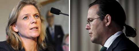Ekonomiskpolitiska talespersonen Magdalena Andersson (S) och finansminister Anders Borg (M).
