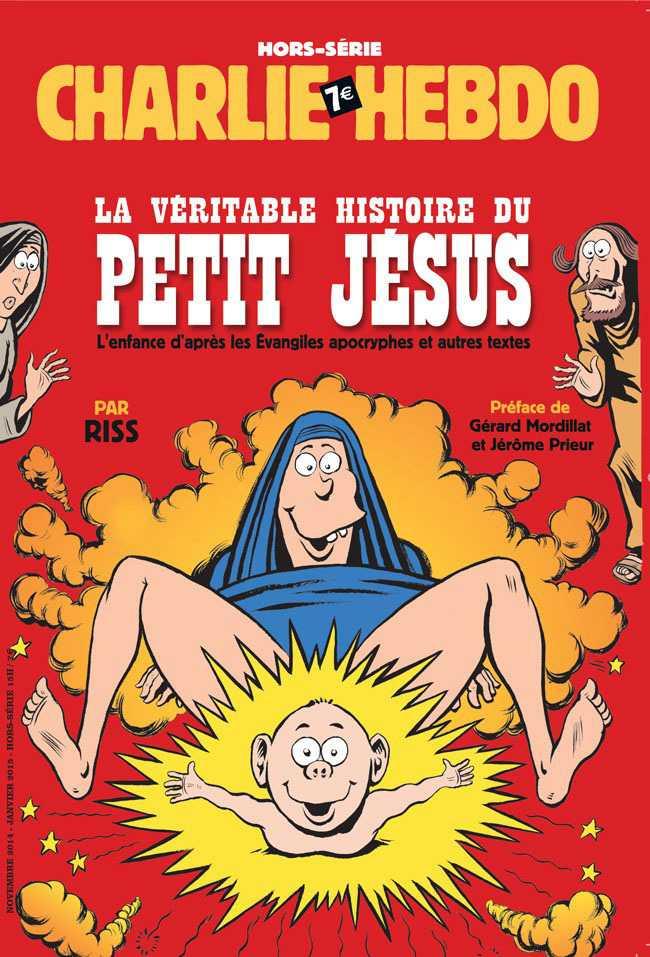 """NÅGRA AV CHARLIE HEBDOS FÖRSTASIDOR """"Den sanna historien om Jesus."""""""