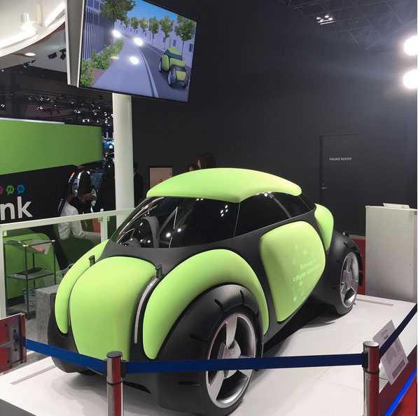 En bil som är gosig att krocka med? Toyoda Gosie Flesby är utvecklad för maximal säkerhet. Om sensorerna upptäcker att man håller på att köra på en fotgängare –så blåses karossen upp. Dessutom ska bilen kunna känna av förarens sinnesstämning och ändra musik, ljus och doft efter detta.