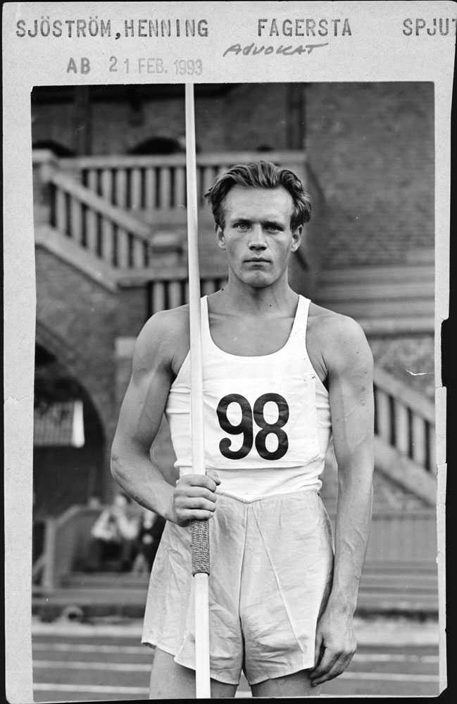 Henning Sjöström föddes i Burträsk i Västerbotten och var i sin ungdom en mycket duktig friidrottare. Hans personliga rekord i spjut: 66,72.