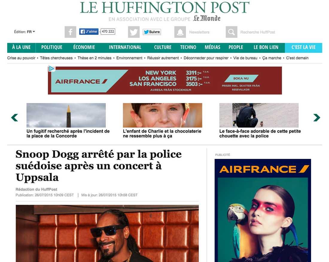 Franska Huffington Post Snoop Dogg togs av svensk polis efter en konsert i Uppsala