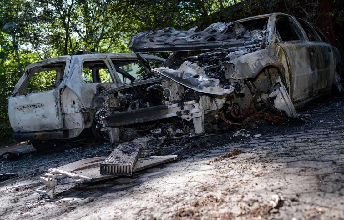 En rad bilbränder inträffade i Skåne i somras, bland annat som här i Lund. Arkivbild.