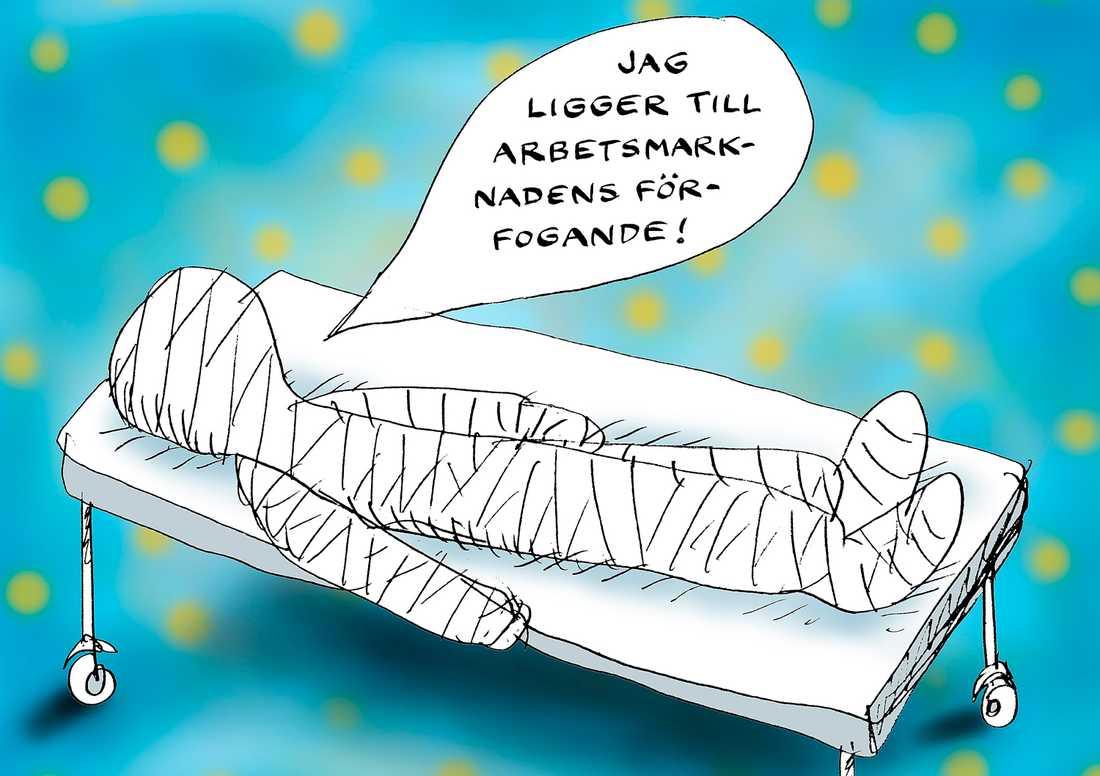 Vittne till misären Diakonerna i svenska kyrkan är kanske de som ser politikens konsekvenser allra tydligast. Därför har Sveriges Kristna Råd tagit initiativ till ett upprop för en humanare sjukförsäkring. ILLUSTRATION: ROBERT NYBERG