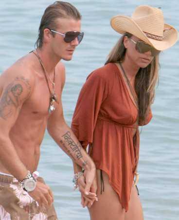David och Victoria Beckham på semester.