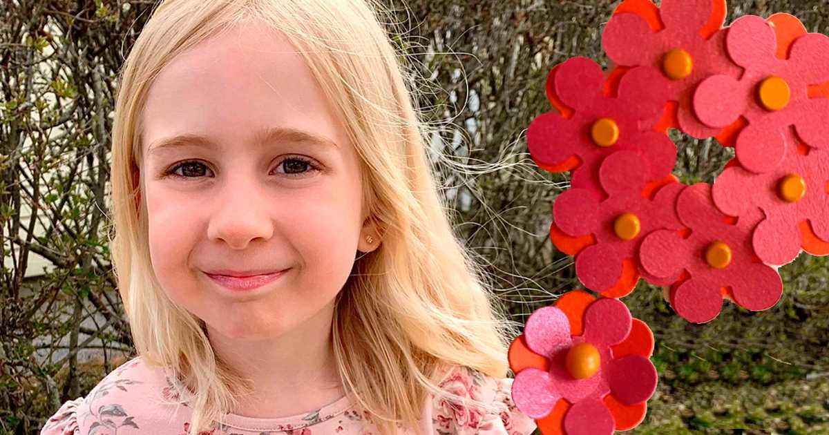 Olicia, 7, har sålt majblommor för 91425 kronor