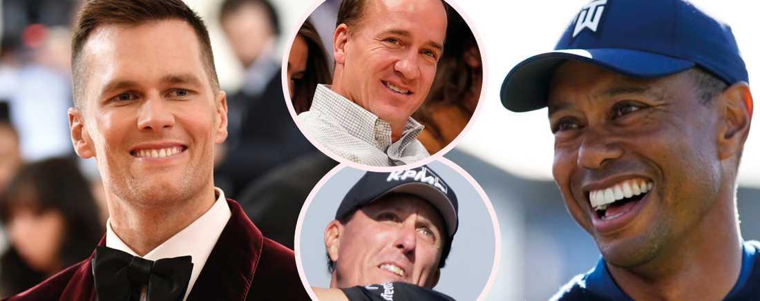 Tom Brady, Peyton Manning, Phil Mickelson och Tiger Woods.