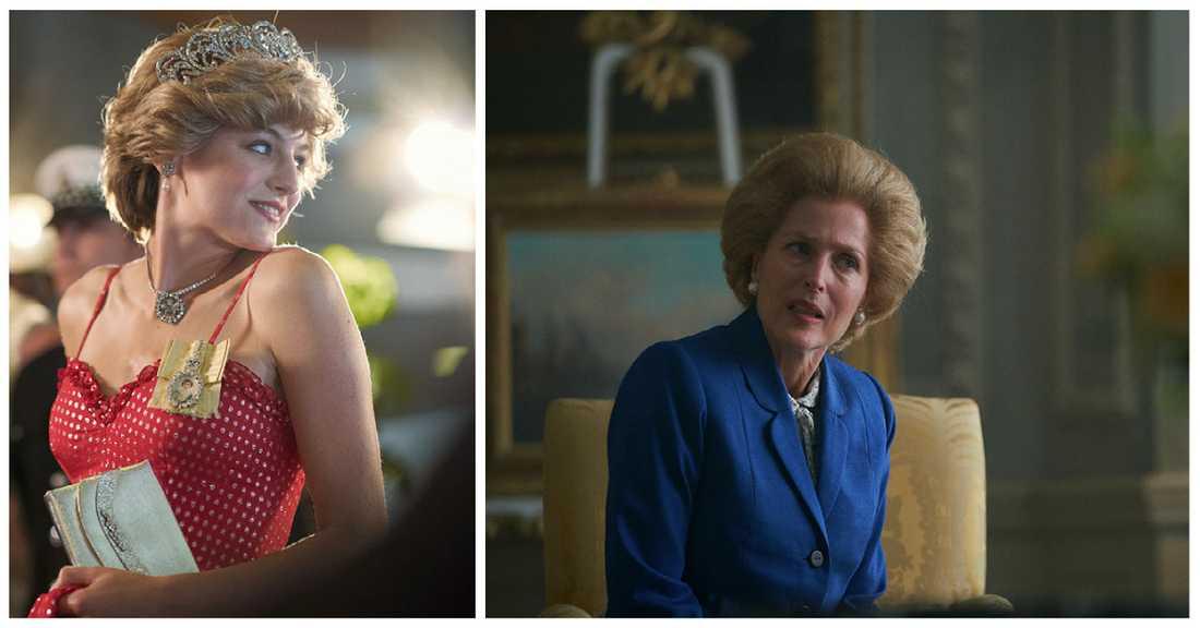 """Emma Corrin som Diana och Gillian Anderson som Thatcher i säsong fyra av """"The crown""""."""
