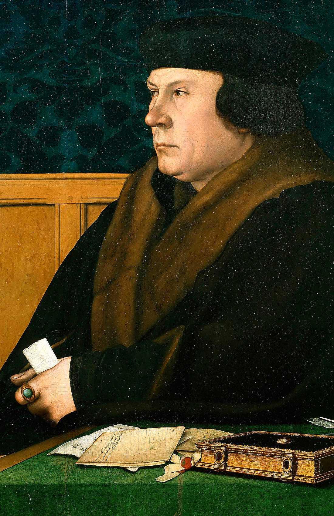 mästerverk  Thomas Cromwell (1485–1540) är ett sant mästerverk, enligt Ann Charlotte Altstadt. (Målning av Hans Holbein den yngre.)