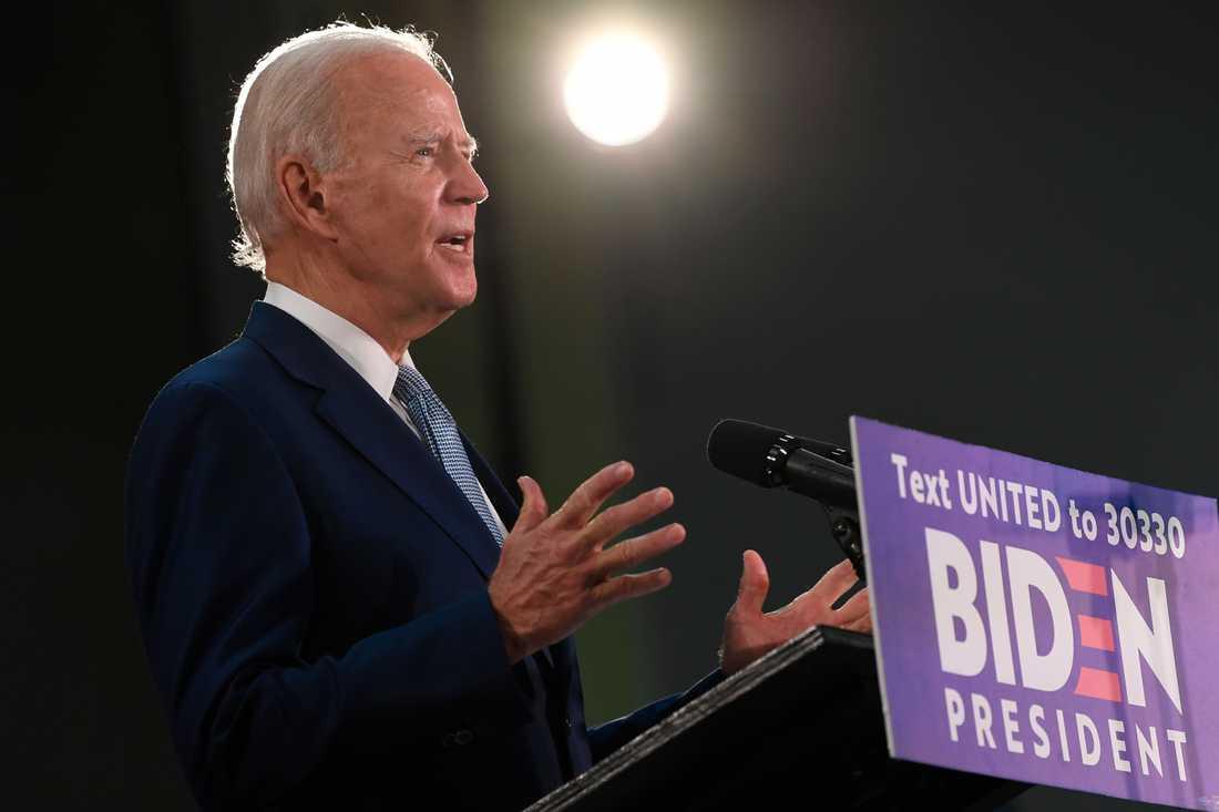 Demokraternas presidentkandidat Joe Biden under ett tal i Dover i Delaware i fredags.
