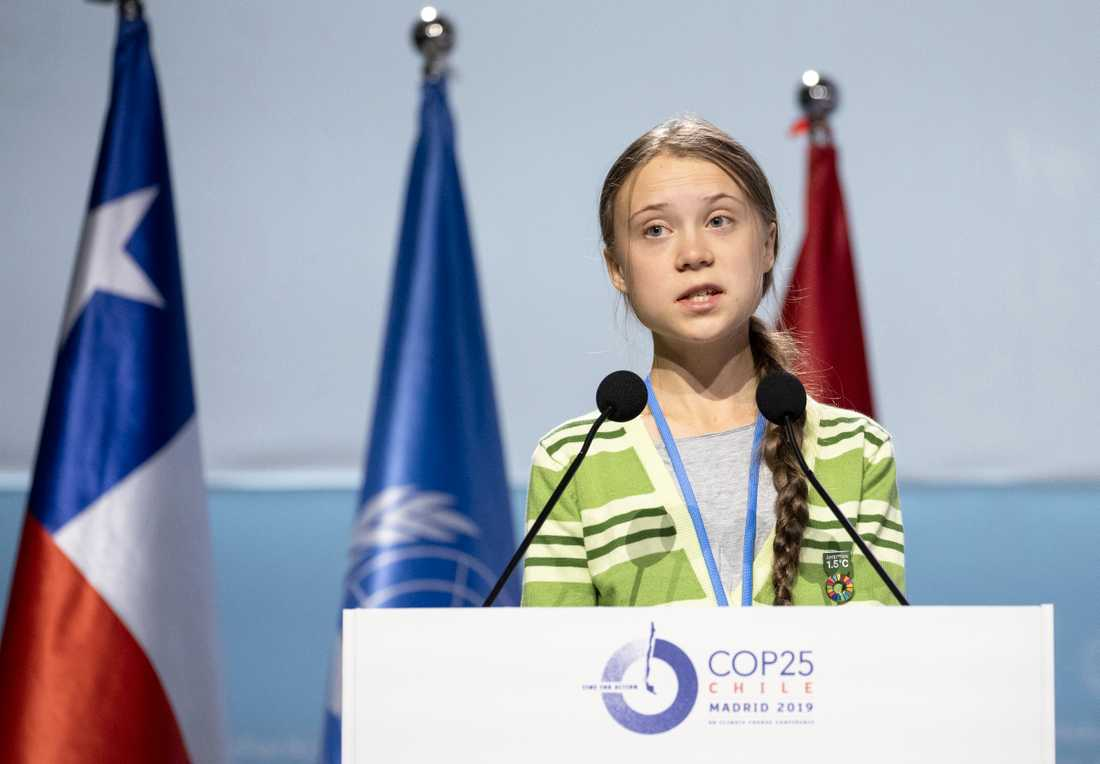Klimataktivisten Greta Thunberg talat på klimatkonferensen i Madrid.