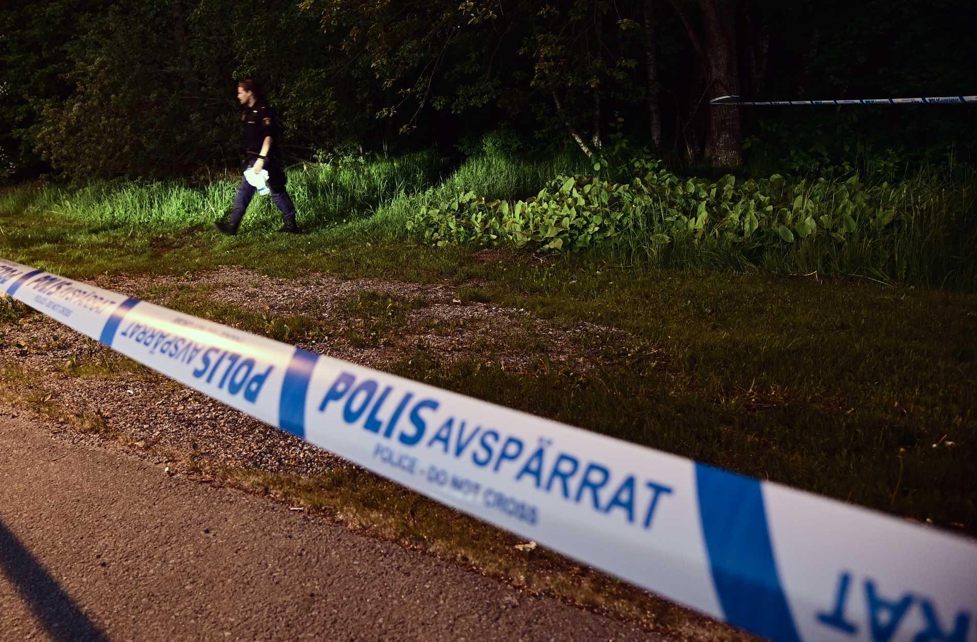 Ett stort område spärrades av och tekniker undersökte skogspartiet.