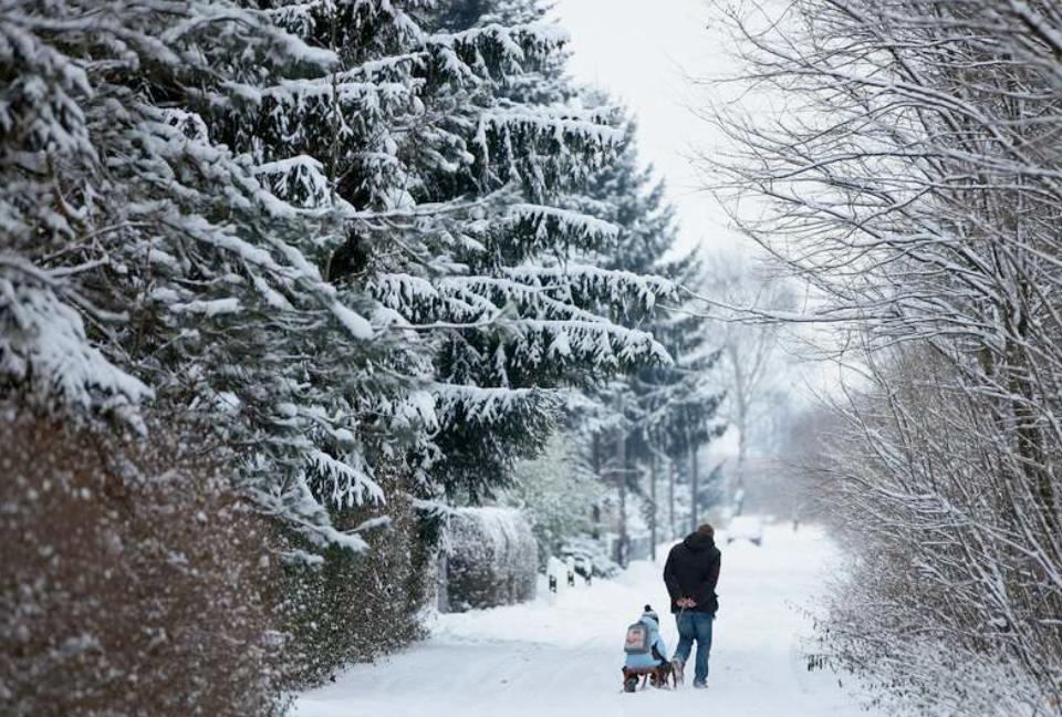 Alternativ transport En man i Tyskland drar en pojke på en släde genom snön.
