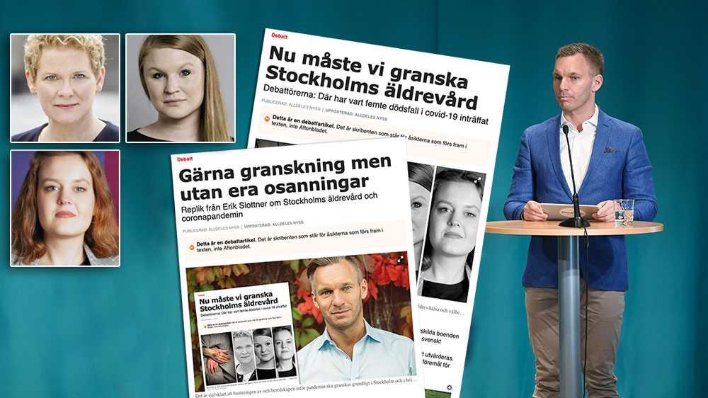 När vi styrde Stockholm och ställde krav på arbetskläder och omklädningsrum för personal – en hygienfaktor som visat sig vara extremt viktig i att hindra smittspridning – motsatte sig Slottner detta, och menade att det skulle försvåra för företagen, skriver  Karin Wanngård (S), Clara Lindblom (V) och Lisa Palm (Fi).