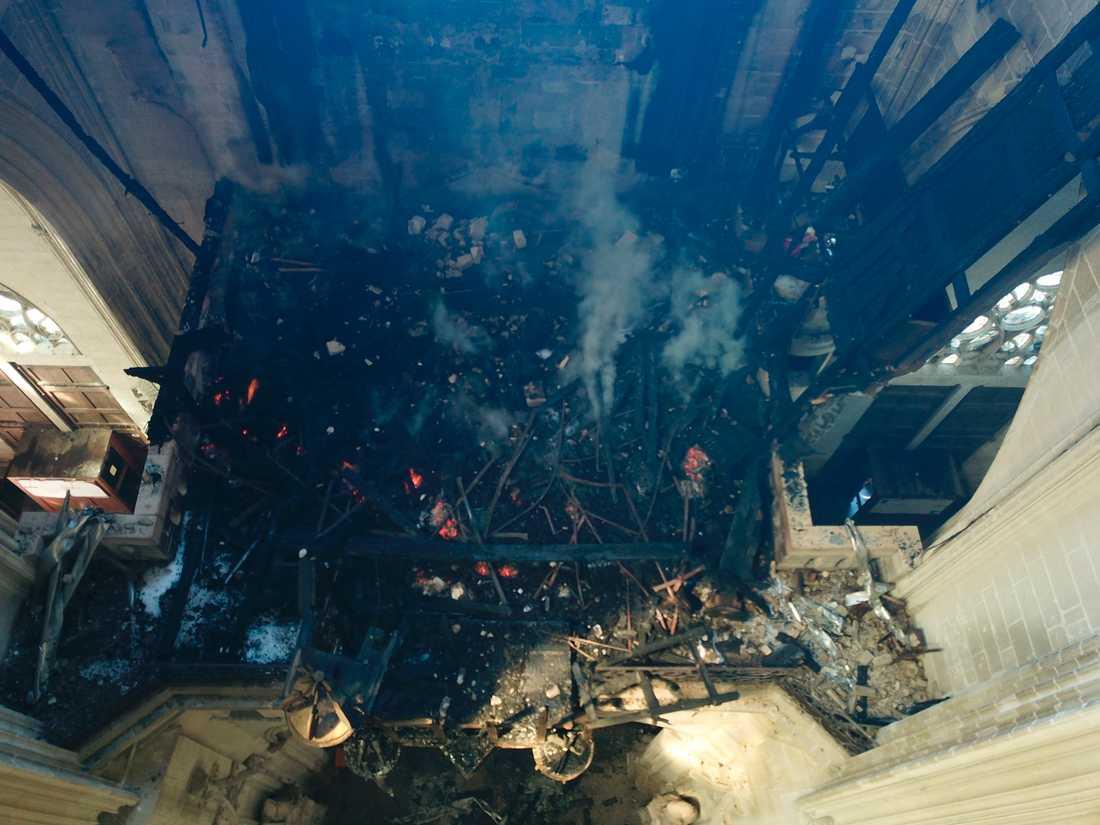 Katedralen i Nantes fick stora skador. Arkivbild.
