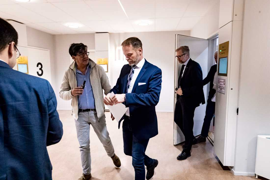 Stefan Jakobsson i Eskilstuna tingsrätt under tisdagen då rättegången inleddes.