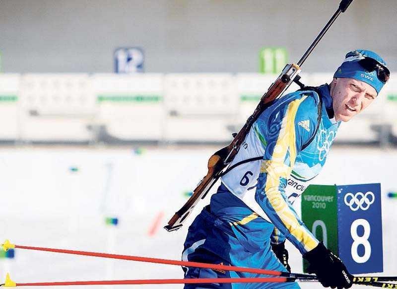 Svenska skidlandslagets Björn Ferry under ett träningspass inför OS.