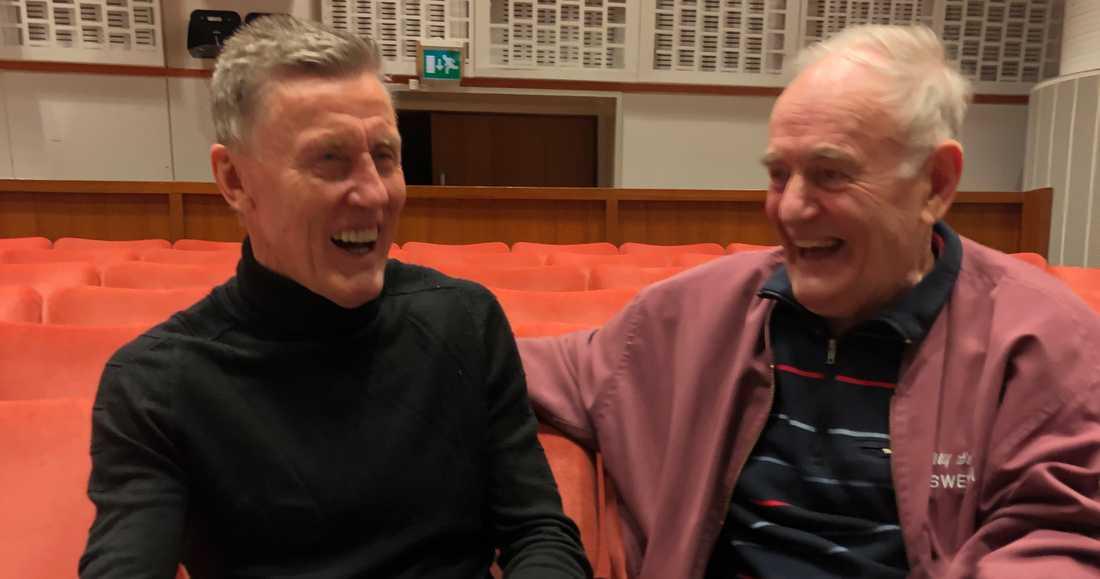 Börje Salming och Ulf Sterner med glatt humör