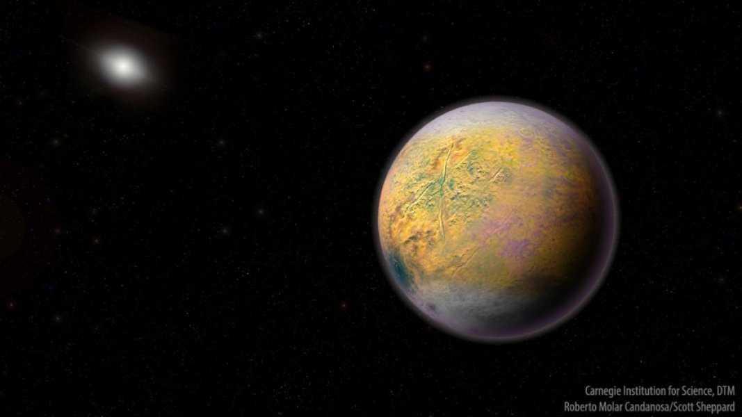 En rekonstruktion av planet X, den hypotetiska nionde planeten i vårt solsystem.