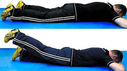 Benlyft Ligg på mage, ha höfterna i golvet. Lyft benet utan att höften tappar kontakt med golvet. Upprepa 8-10x3 gånger/ben.