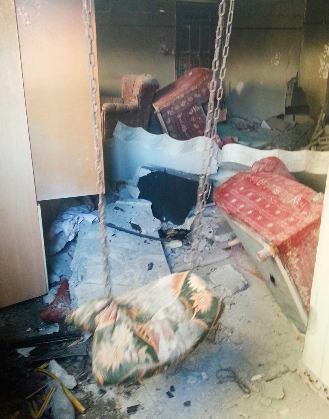 Ett förstört hem i Belal i Gaza.