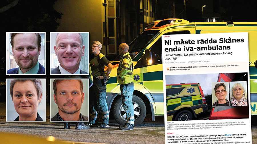 Det är tråkigt att S väljer att så misstro om ambulansverksamheten i Skåne. Sanningen är ju att vi står inför en stor kvalitetshöjning där i princip en iva-utrustad ambulans blir hela 13 stycken. Replik från alliansstyret i Skåne.