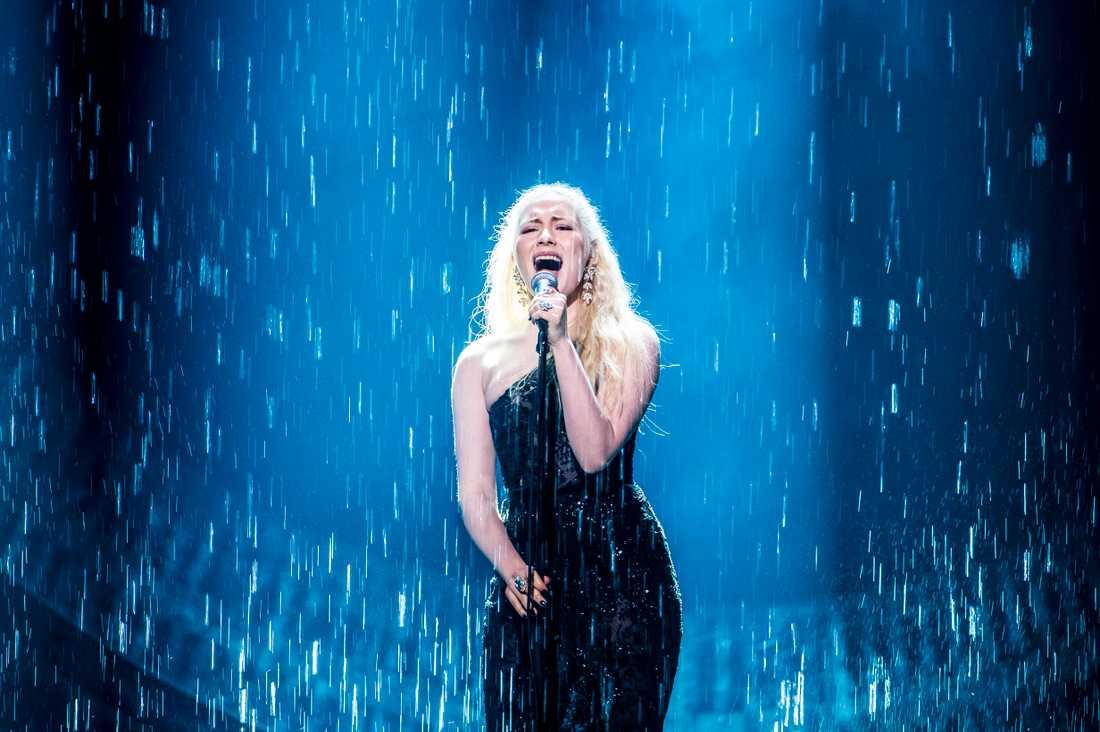 Wiktoria under lördagens genrep inför finalen i Melodifestivalen 2019.