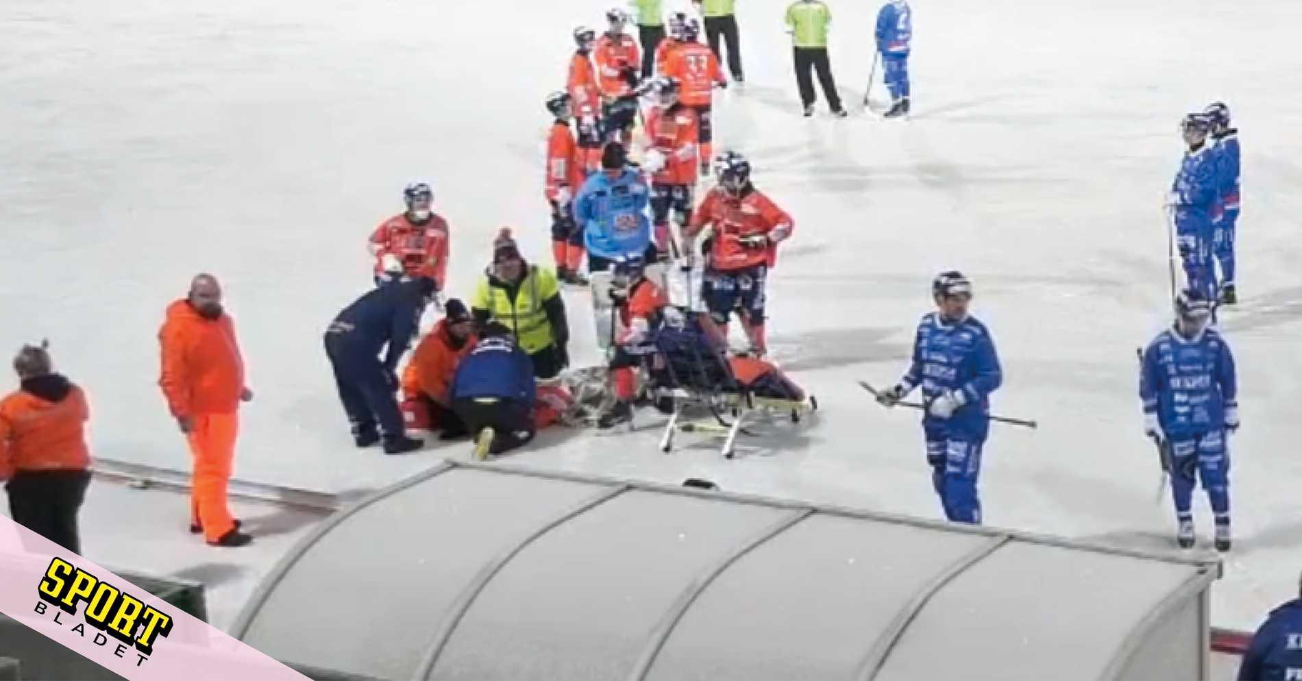 Otäcka scener när matchen avbröts i Bollnäs
