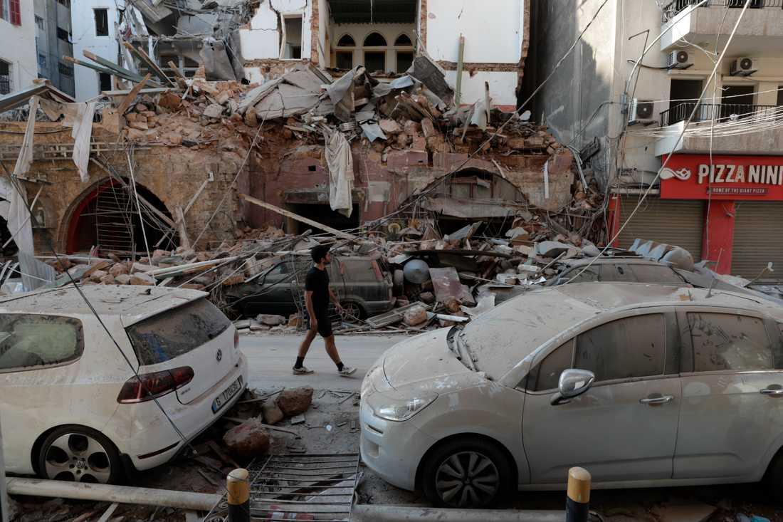 Stor förödelse efter explosionerna i Beirut i Libanon.