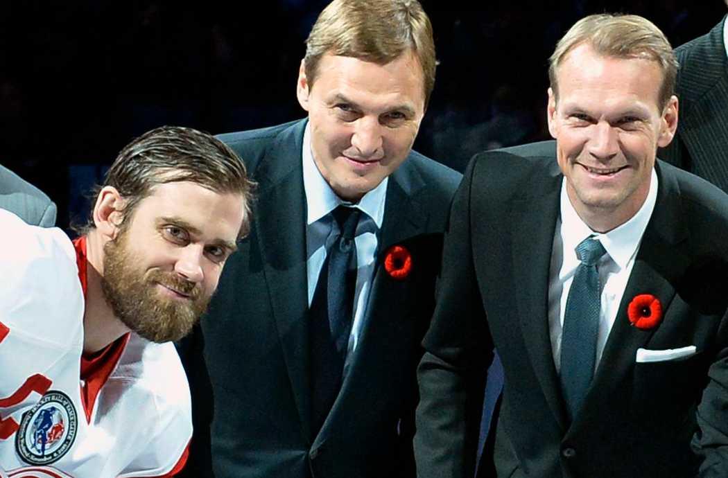 Ett gäng Detroit-legendarer: Henrik Zetterberg, Sergei Fedorov och Nicklas Lidström.