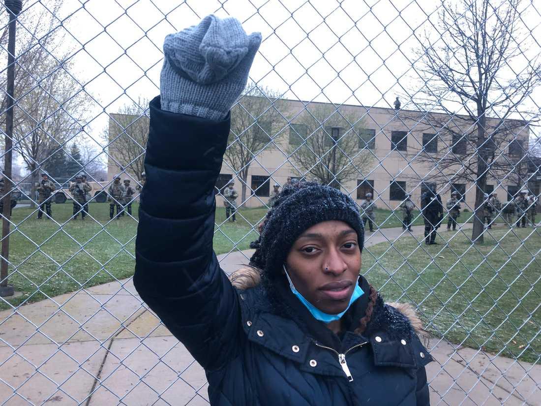 Ellen Padmore har varit på plats och demonstrerat sedan i söndags.