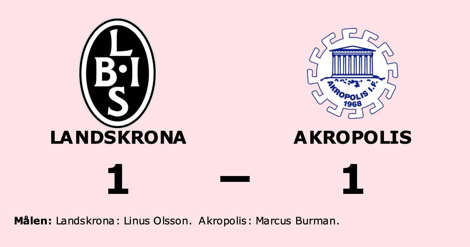 Oavgjort för Akropolis hemma mot Landskrona