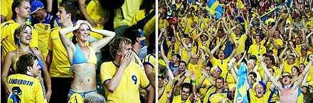 Svenska fans på läktarplats.