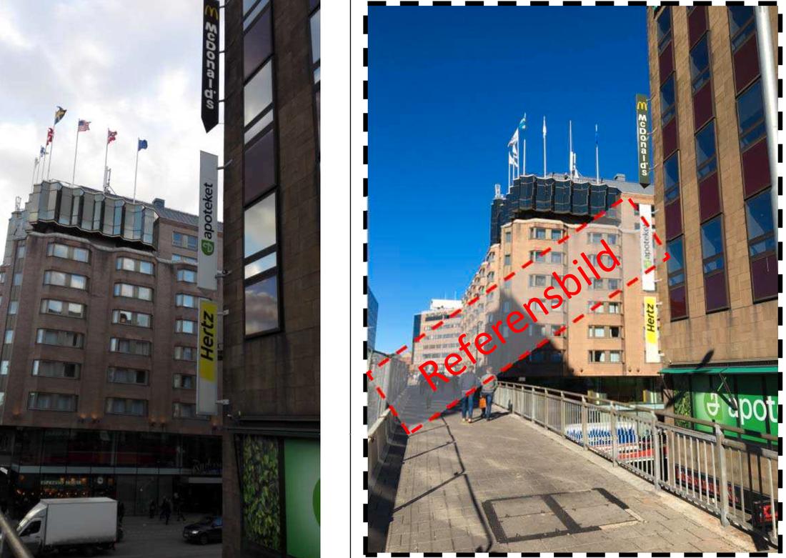 Klarabergsgatan. Bild från Akilovs mobil samt polisens referensbild.