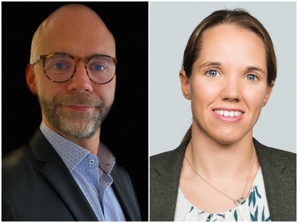 Mikael Ottestig, kommersiell chef på Nybergs Deli och Emma Frödå, lantbruksexpert på Danske bank.