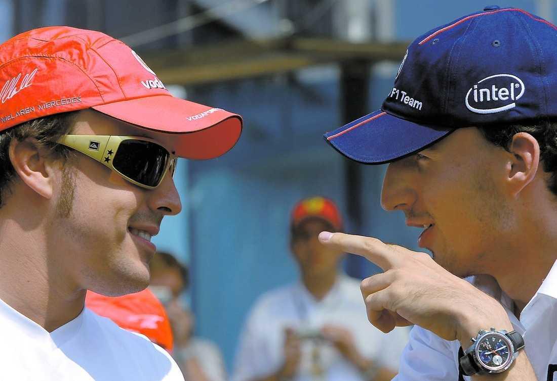 STALLPOLARE 2009? Fernando Alonso och Robert Kubica kan köra för samma stall nästa år. Åtminstone talar mycket för att spanjoren lämnar Renault för BMW.