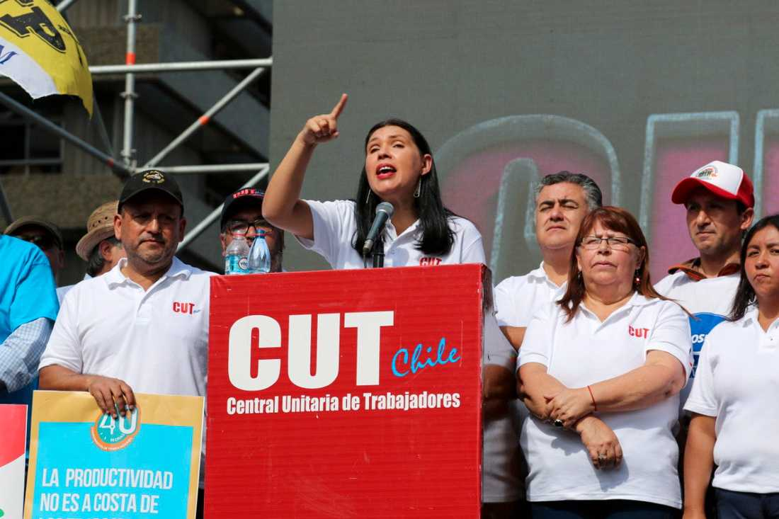 """Barbara Figueroa Sandoval, ledare för den chilenska centralorganisationen CUT, tilldelas """"den fackliga världens Nobelpris""""."""