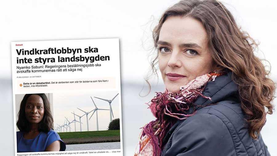 """Enligt Nyamko Sabuni säger kommunerna nej till vindkraftparker """"då och då"""". Det är grovt missvisande. Sedan 2014 har det kommunala vetot stoppat 1 277 vindkraftverk under pågående tillståndsprocess, skriver Linda Burenius från Svensk vindenergi."""