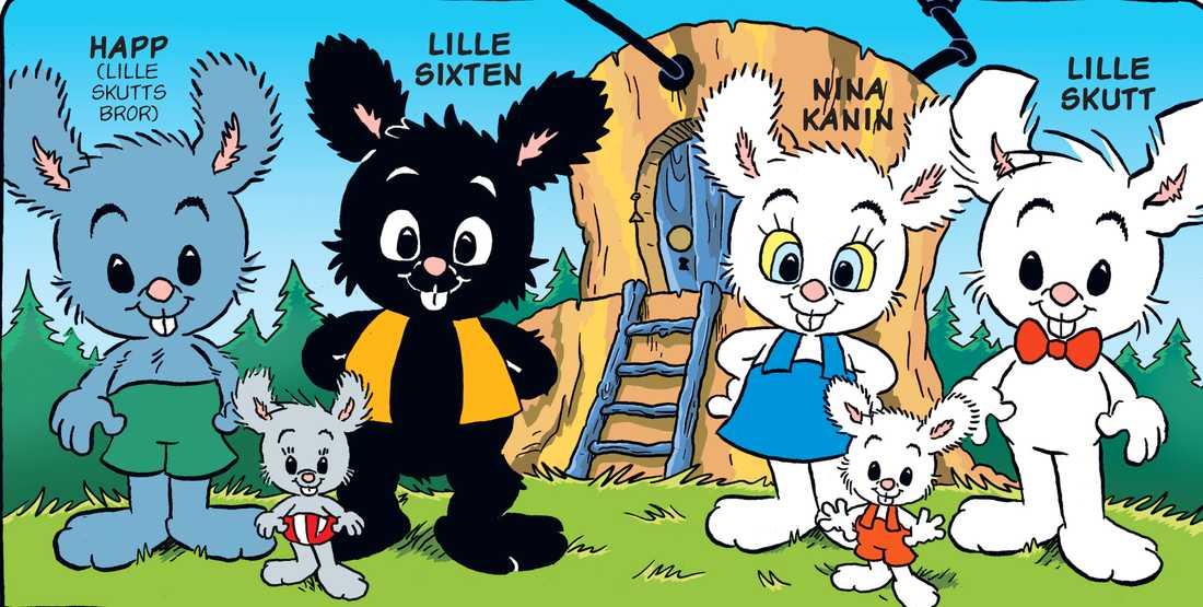 Till vänster: Lille Skutts bror Happ och hans partner Lille Sixten, samt deras dotter Suddan.