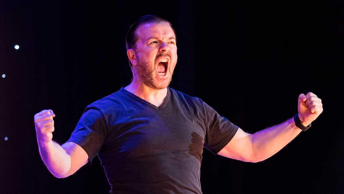 Ricky Gervais i Globen 2017. Vid kvällens föreställning rådde fotoförbud.