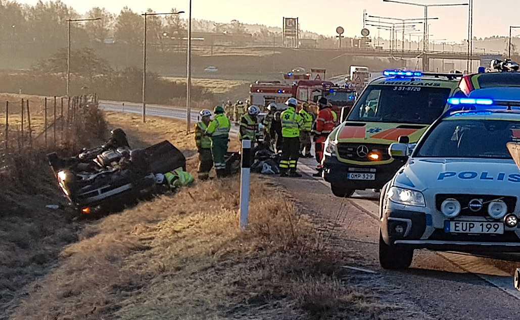 Olycka på E6 vid Stenungsund.
