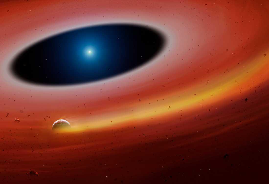 Det aktuella planetfragmentet kretsar runt den vita dvärgen i spillrorna av det tidigare solsystemet. Bilden är en konstnärlig tolkning.