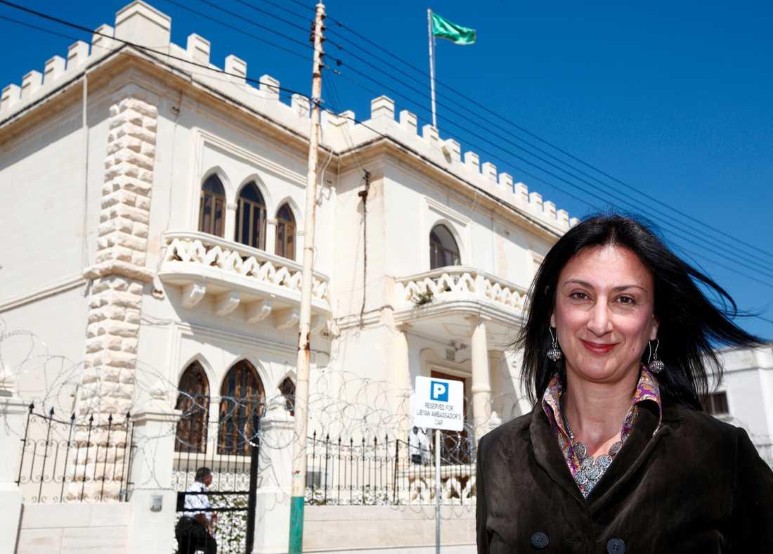 Maltesiska journalisten Daphne Caruana Galizia, dog i explosionen.