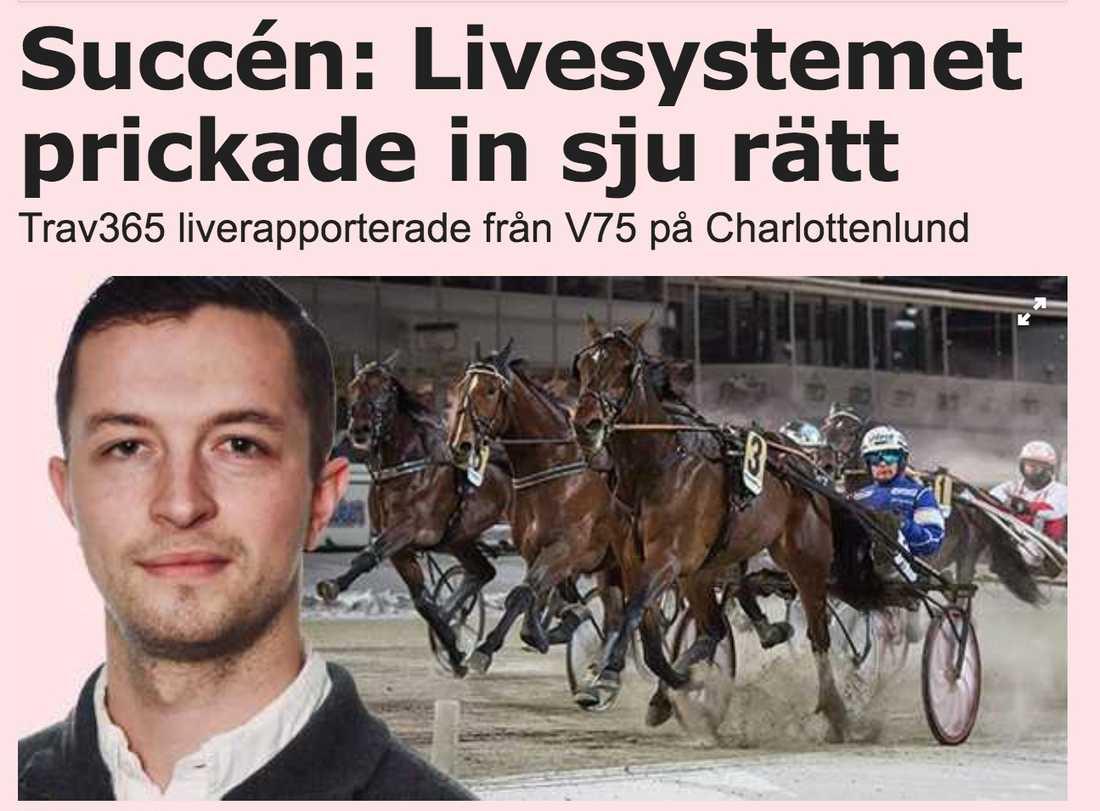 """Trav365:s Charlie Hedstad satte """"sjuan"""" i Sportbladets liverapportering från extra V75."""