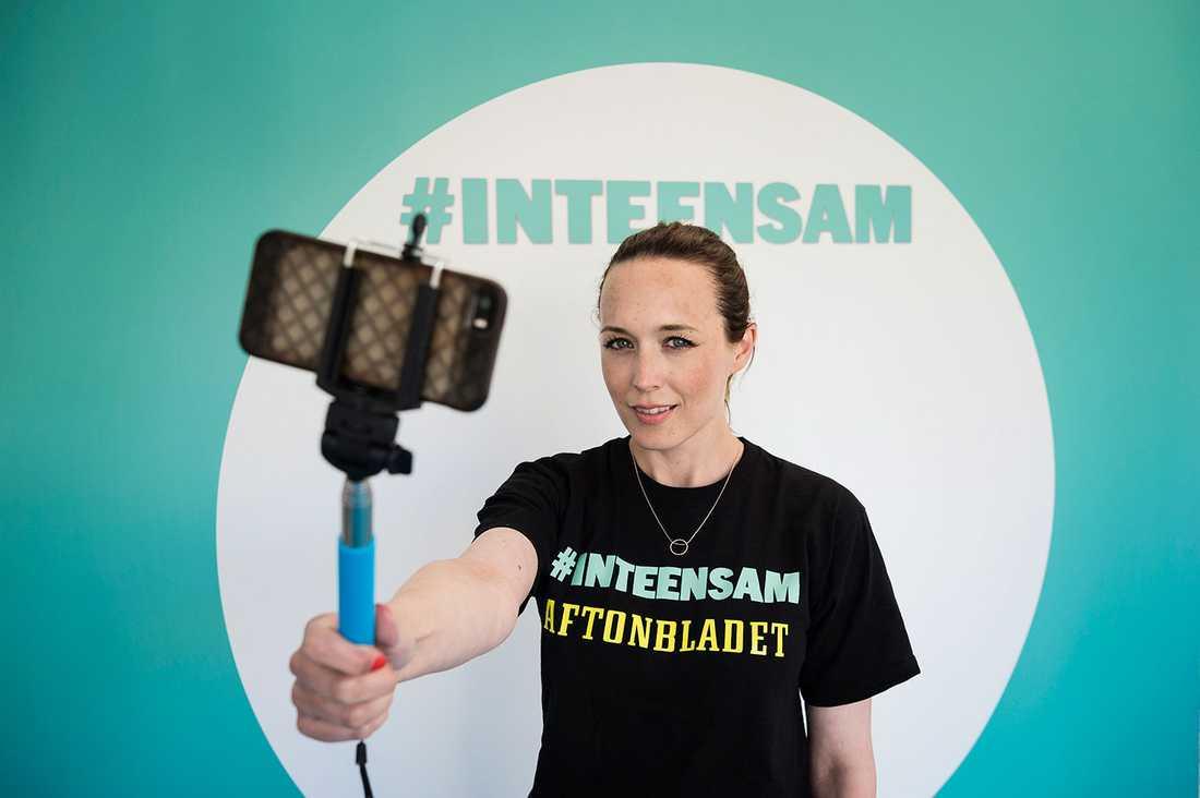 Olivia Svenson, projektledare för #inteensam.