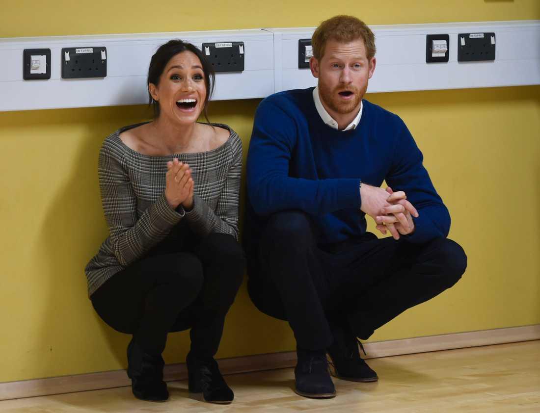 Harry och Meghan på en streetdance-kurs 2018.