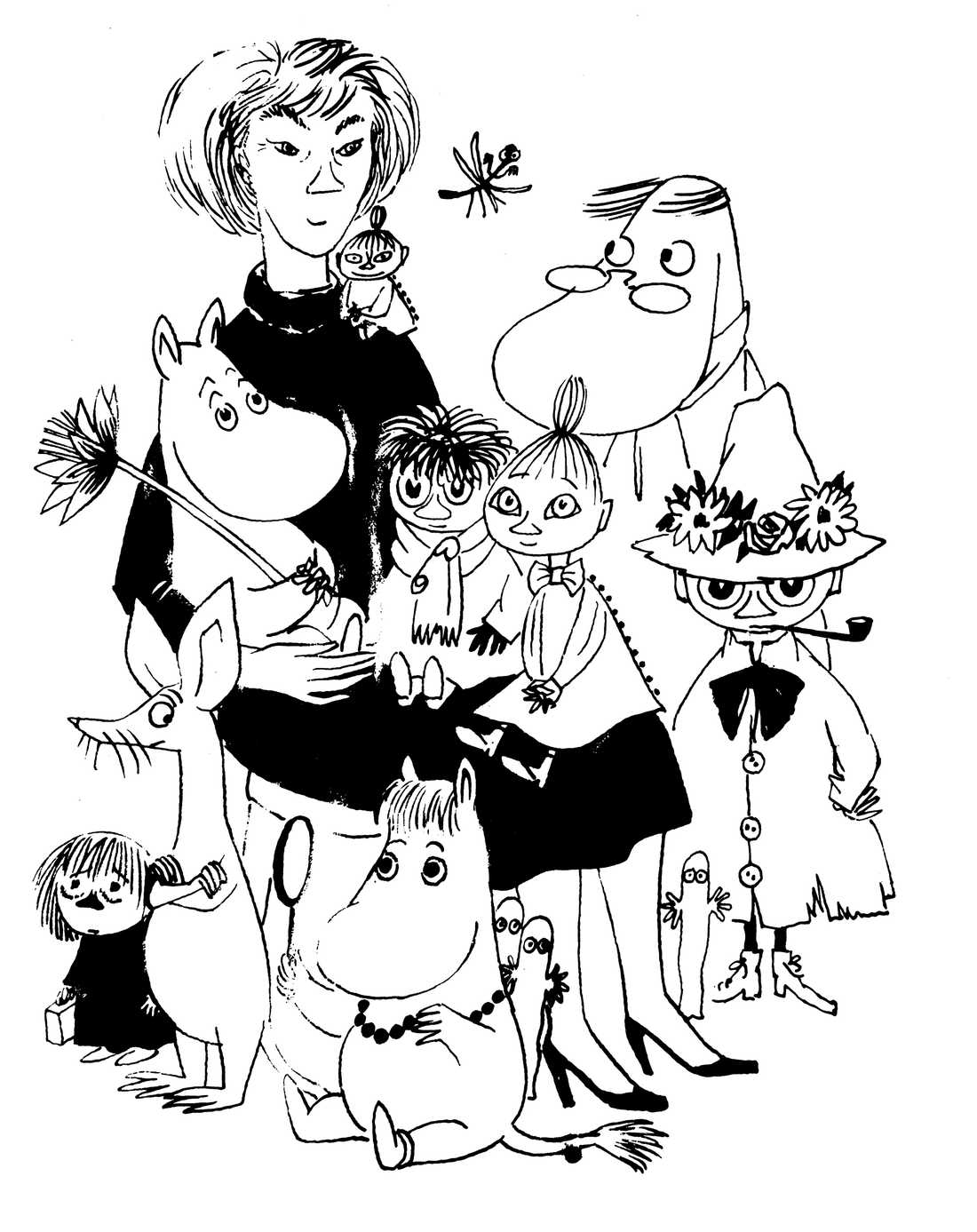 Självporträtt av Tove Jansson mitt bland hennes karaktärer.