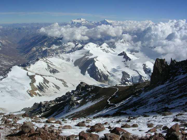 Mount Aconcagua, Amerikas högsta berg, 6962 meter över havet.