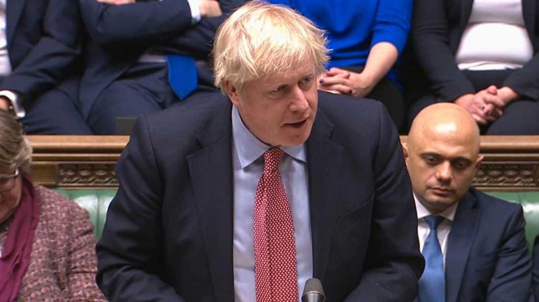 Premiärminister Boris Johnson talar i det brittiska parlamentets underhus.