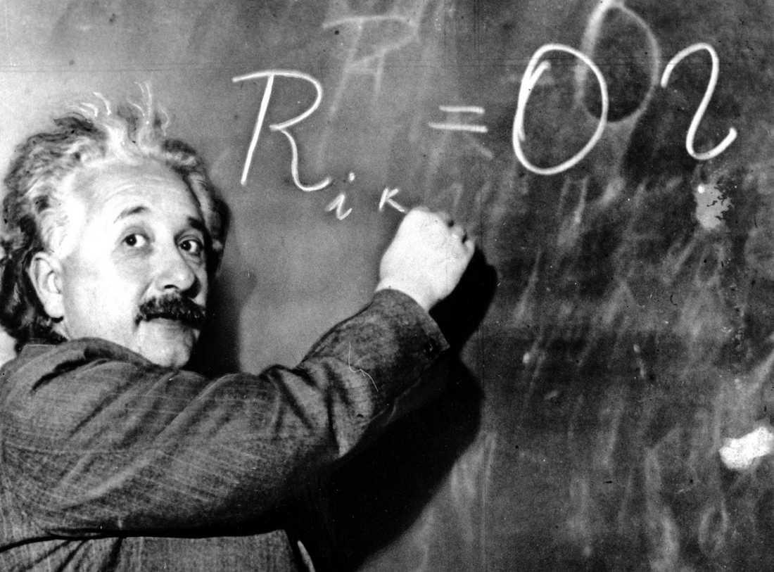 Albert Einstein på Carnegieinstitutet i Kalifornien 1931. Arkivbild